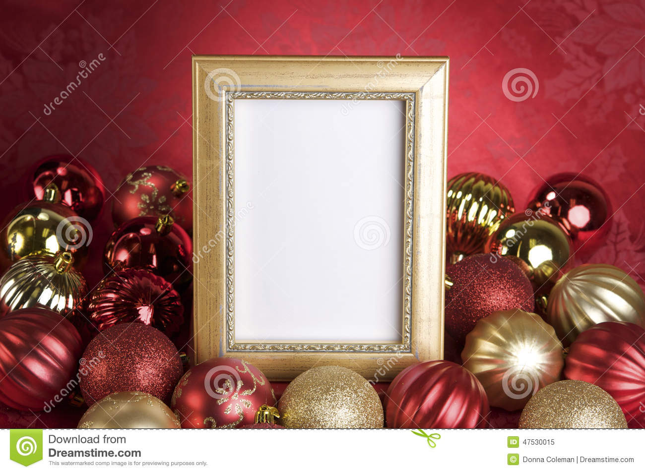 Christmas ornament frames - Picture Frame Christmas Ornaments Empty Gold Frame With Christmas Ornaments On A Red Background Royalty