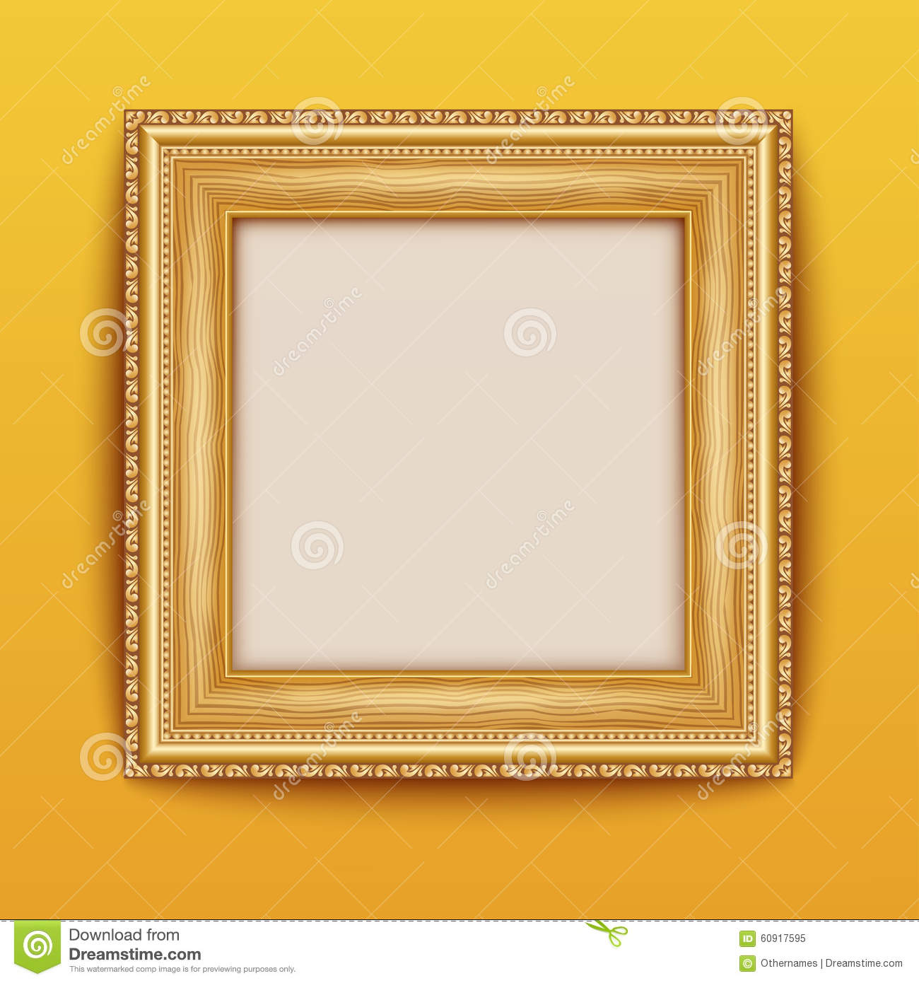 Empty Gold Frame Hanging On The Wall. Stock Vector - Illustration of ...