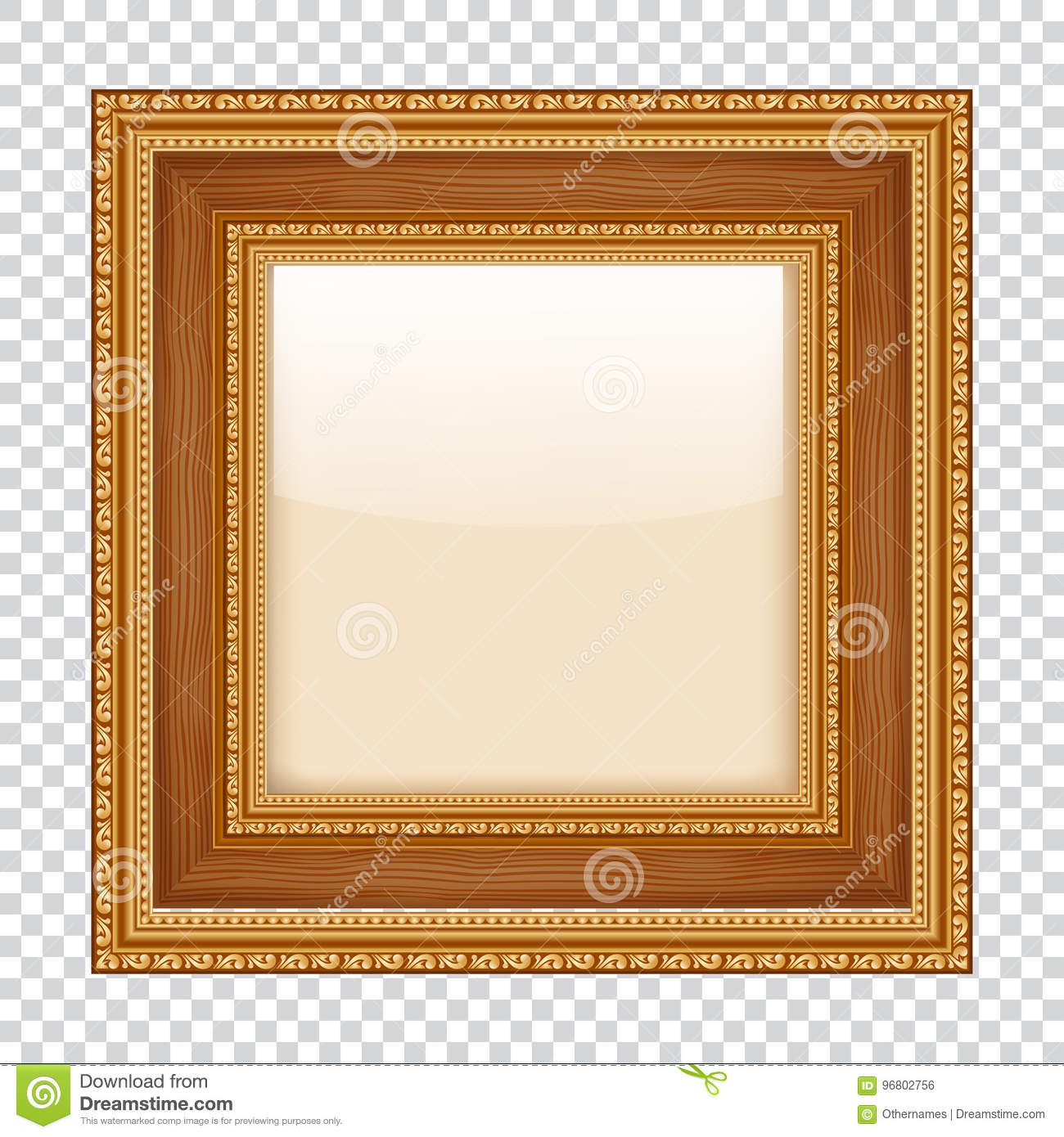 f4e6e22965cb Royalty-Free Vector. Empty gold frame on transparent background. wooden  frame