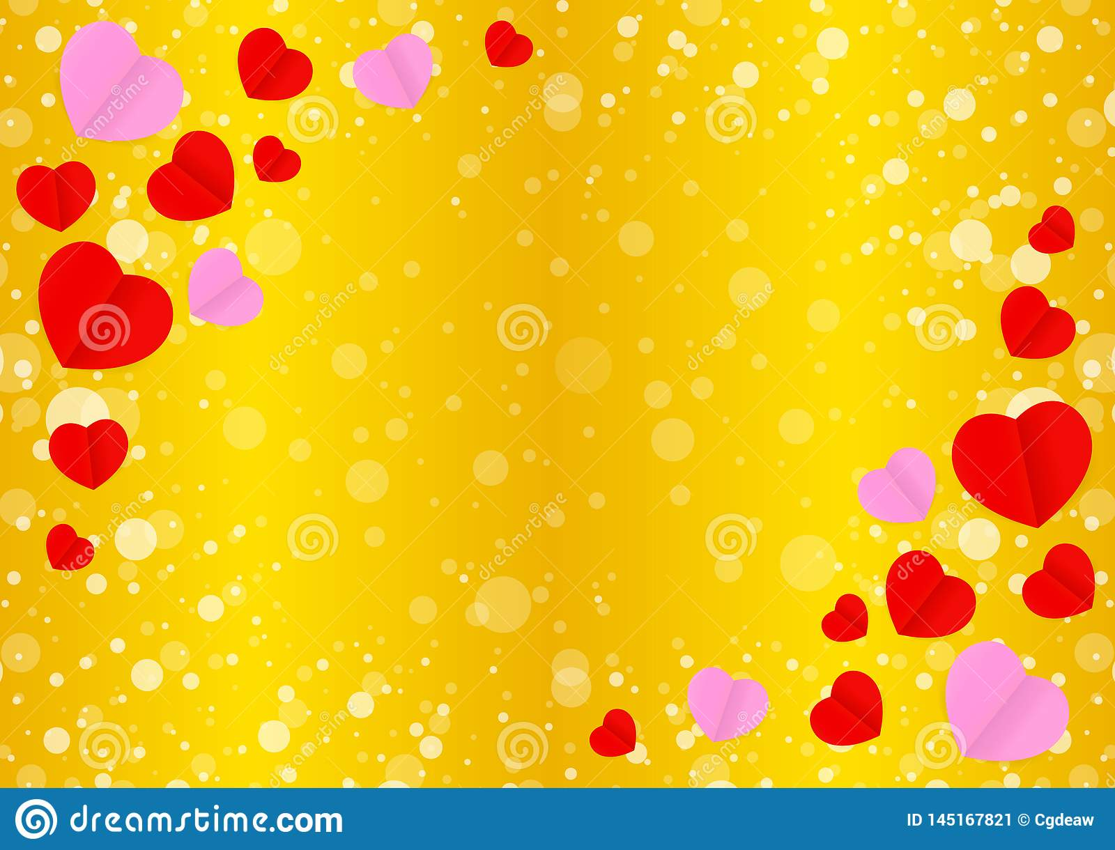 Empty Golden Frame And Red Pink Heart Shape For Template