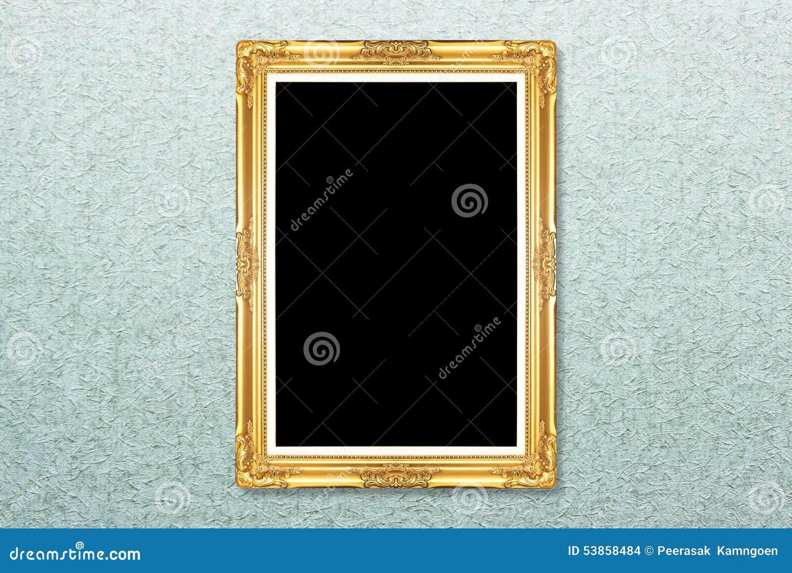 Empty Golden Vintage Frame On Wallpaper Stock Photo Image Of Gilt