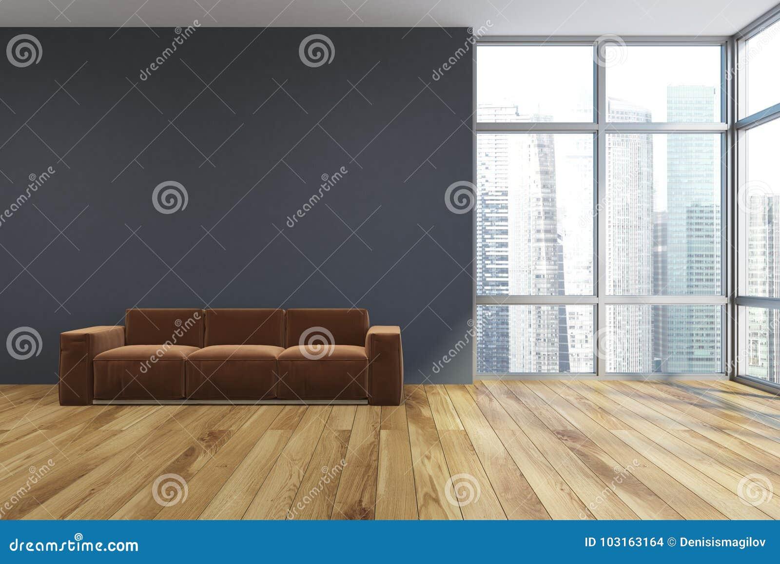 Empty Gray Living Room Brown Sofa Stock Illustration