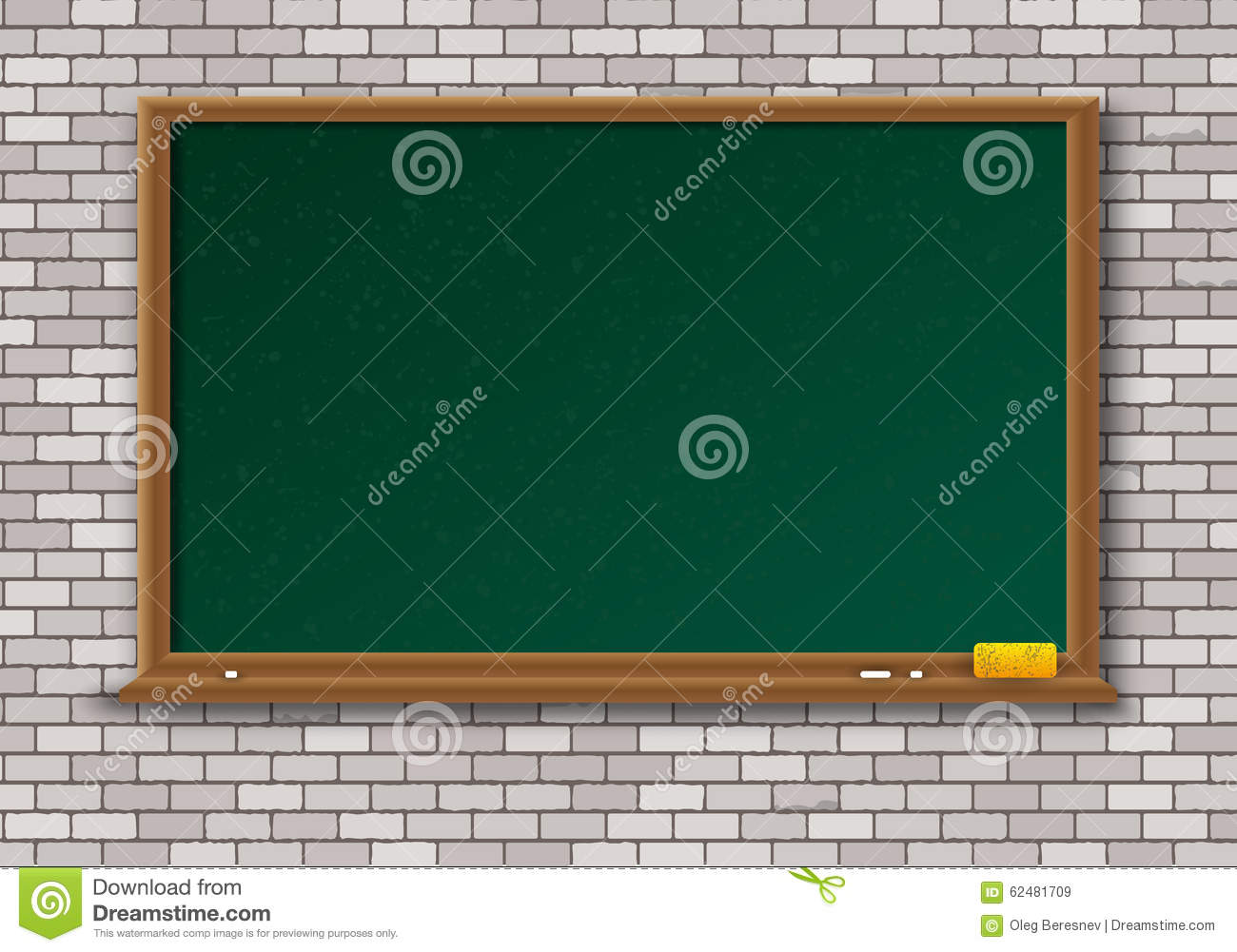 empty green chalkboard with wooden frame stock photo