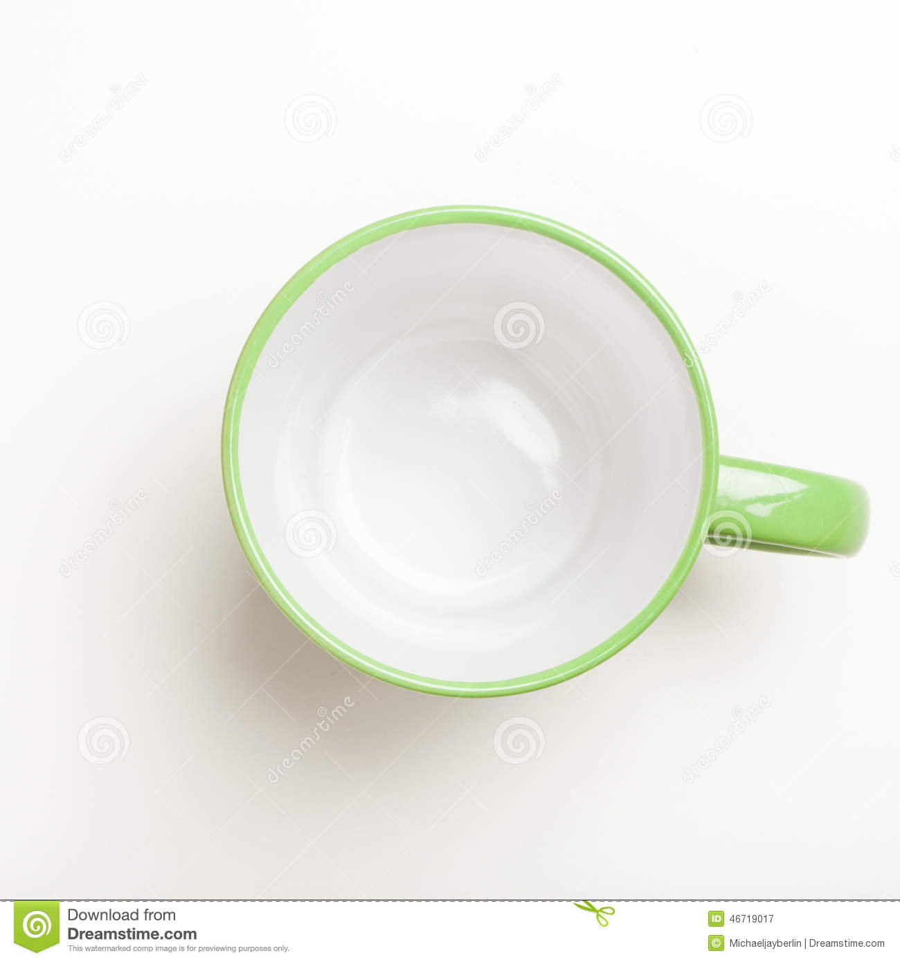 Empty Cup Top : Empty green coffee tea mug cup top view on white stock