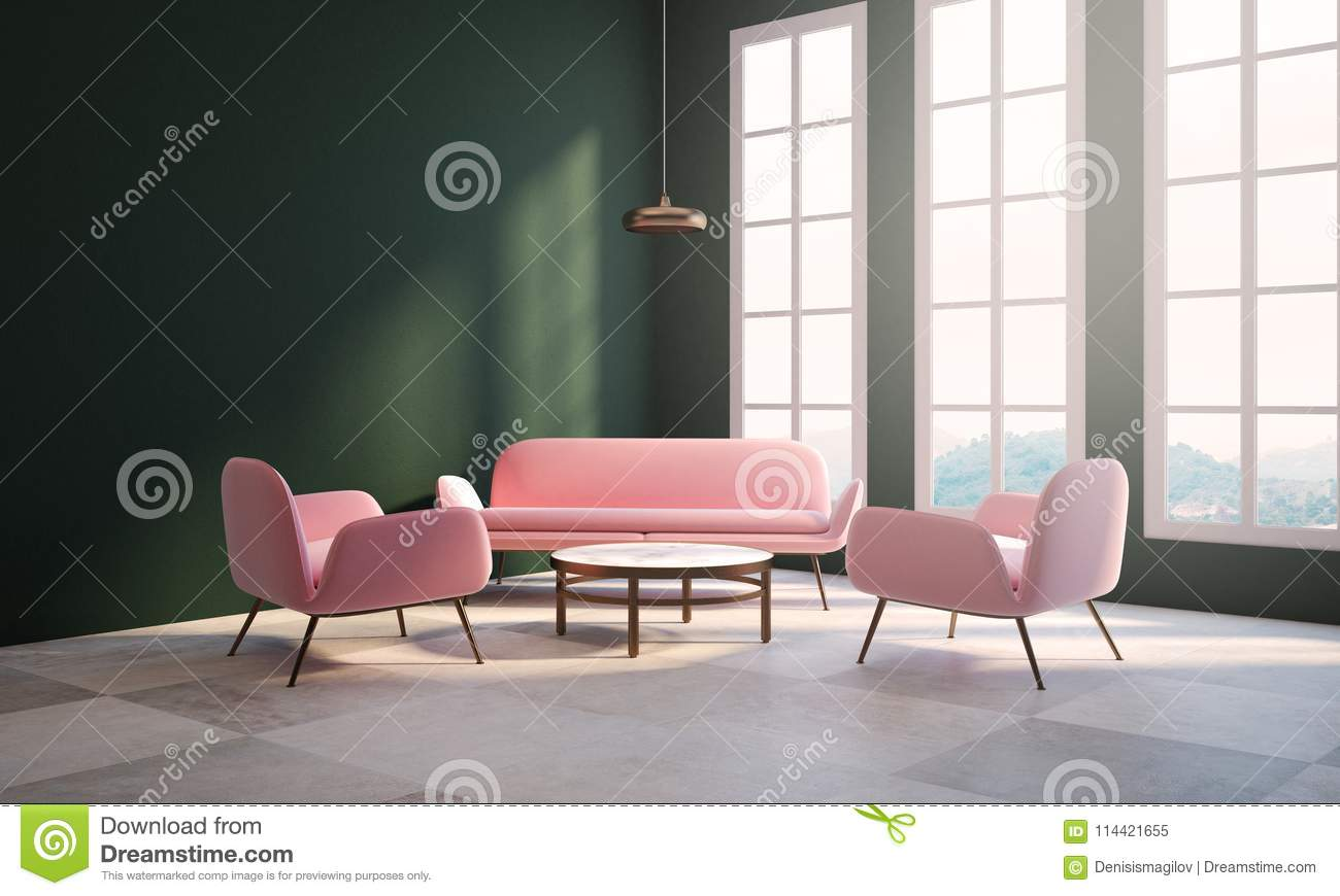 Empty Green Living Room, Pink Sofa, Window Stock ...