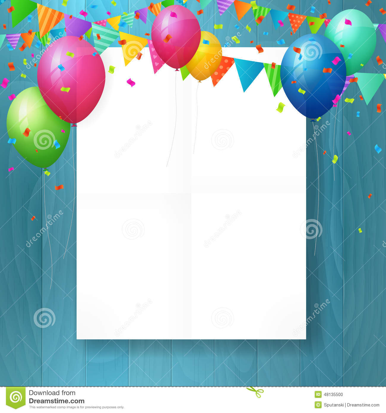 Empty Happy Birthday Greeting Card With Balloons Stock Vector