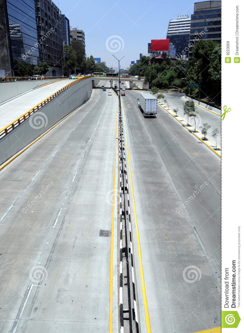 Empty highway in Mexico City