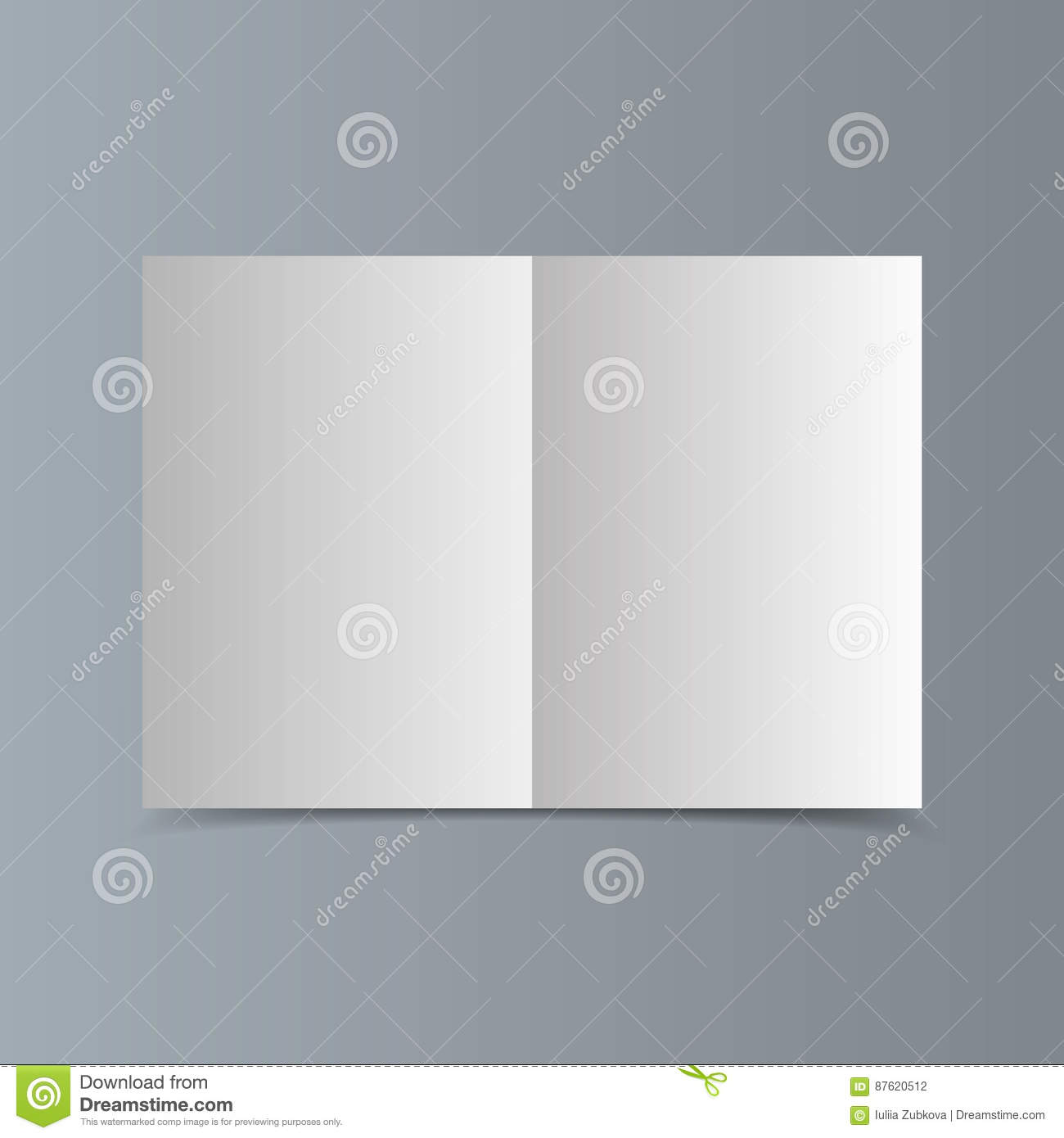 empty horizontal white paper brochure mockup with traces of the