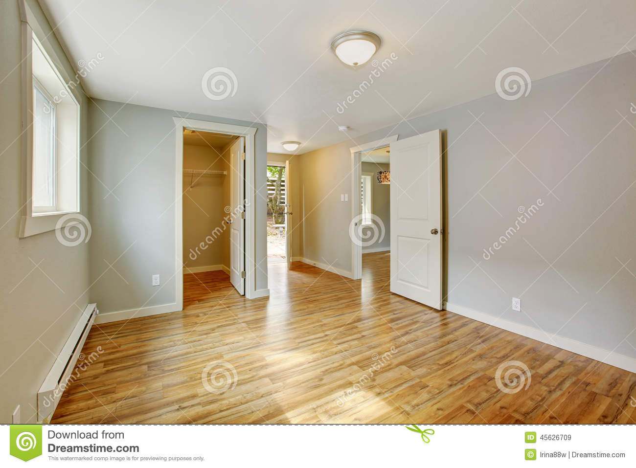 Empty house interior bedroom with walk in closet stock photo image 45626709 - Houses with bedroom exit to the backyard ...
