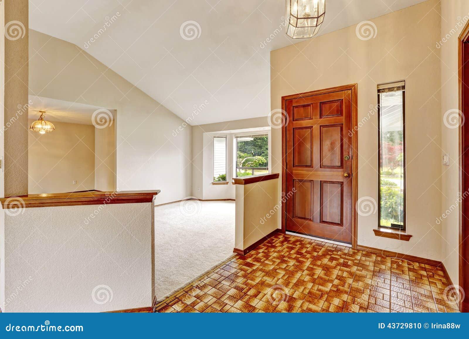 Empty House Interior Entrance Hallway With Brown Linoleum