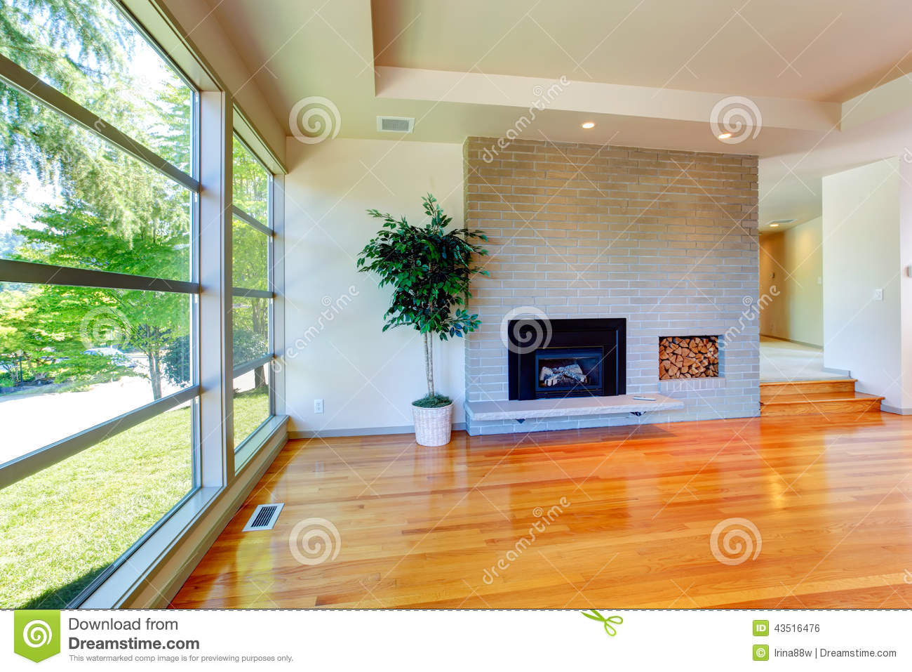 Empty House Interior Glass Wall Living Room With Brick An Royalty Free Stock Image