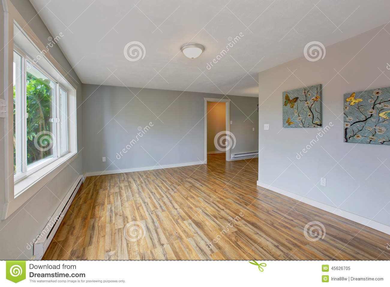 Empty House Interior With Light Blue Walls Stock Image