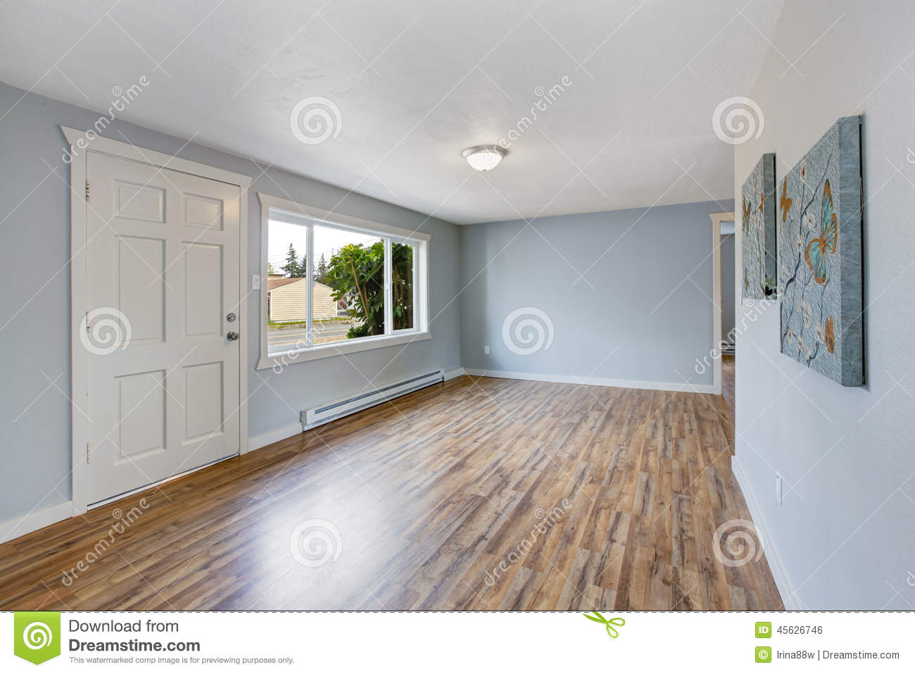 Empty house interior with light blue walls for Pastel house interior