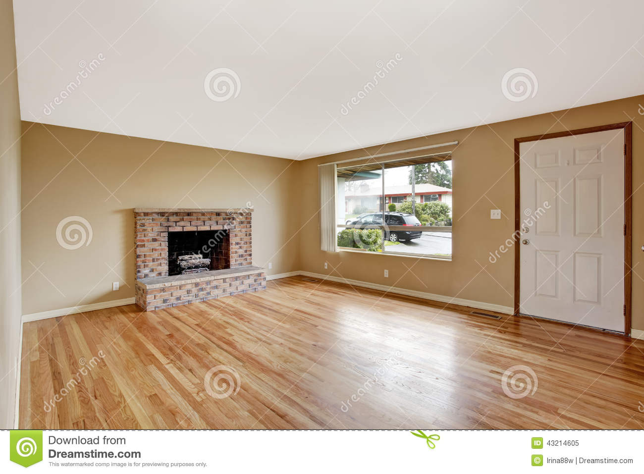 Brick Door Empty Entrance Fireplace House Interior Living Room