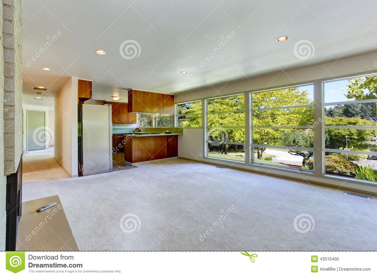 Empty house interior with open floor plan living room Opening glass walls