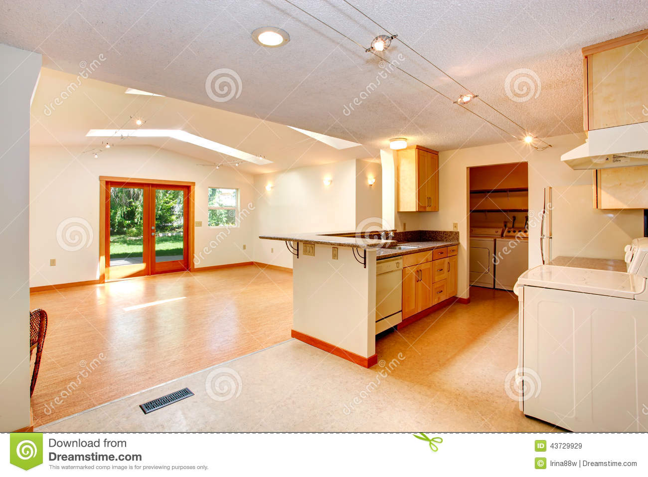 Open Floor Plan House With Open Floor Plan Kitchen And Living Room Stock Photo