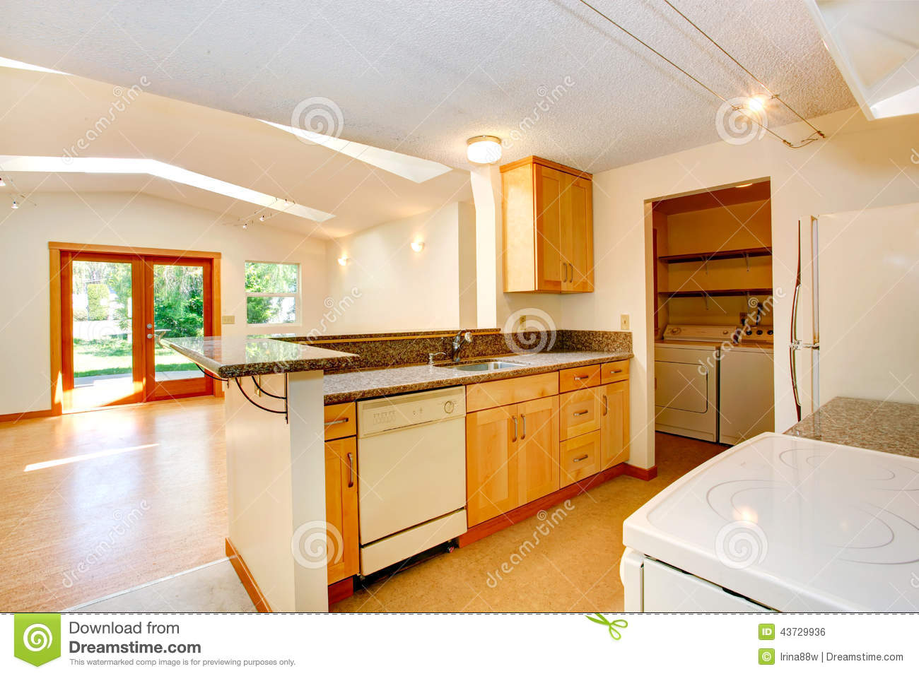 Kitchen Cabinets With Feet Empty House Interior With Open Floor Plan Living Room And