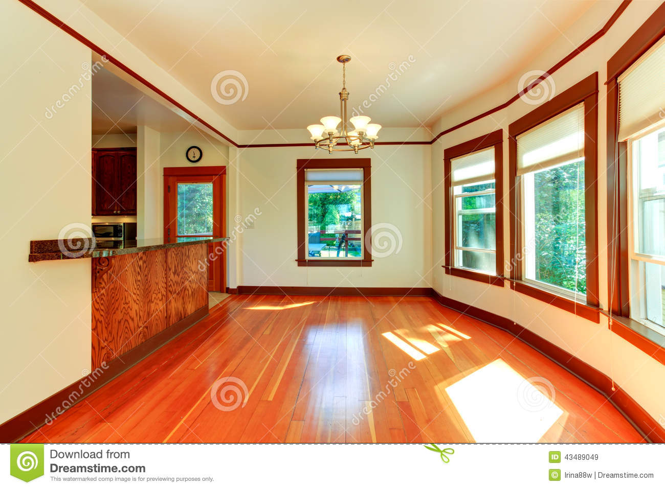 Empty House Interior In Soft Ivory With Brown Trim Stock Photo Image 43489049