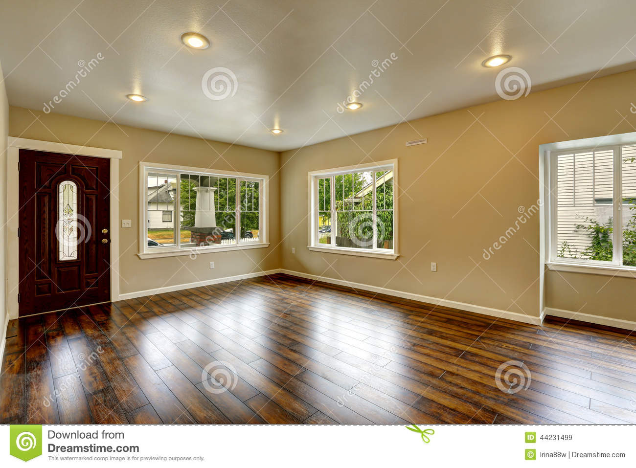 Empty House Interior. Spacious Living Room With New Hardwood Flo ...