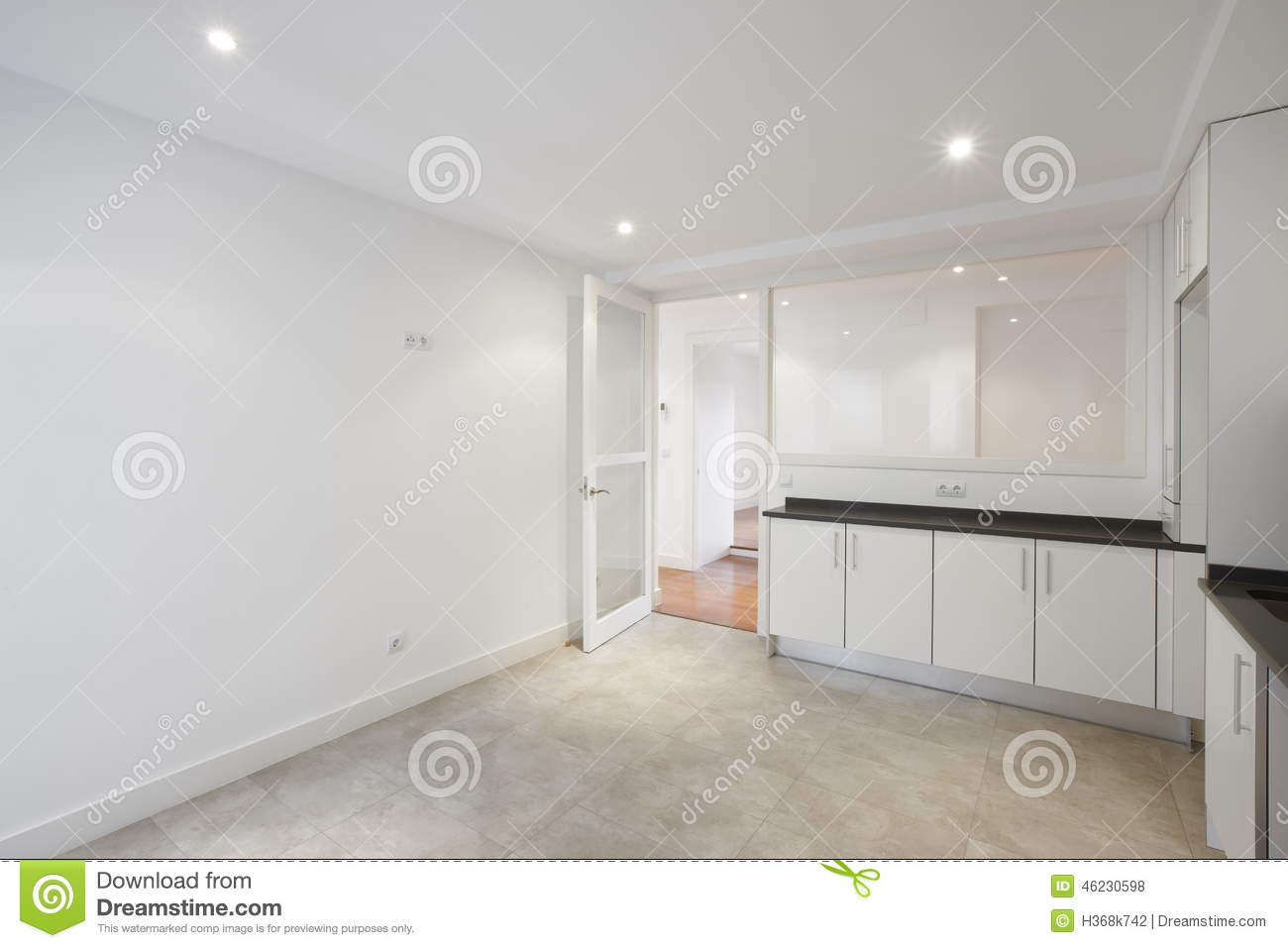 Empty House Kitchen With White Furniture Stock Photo - Image: 46230598