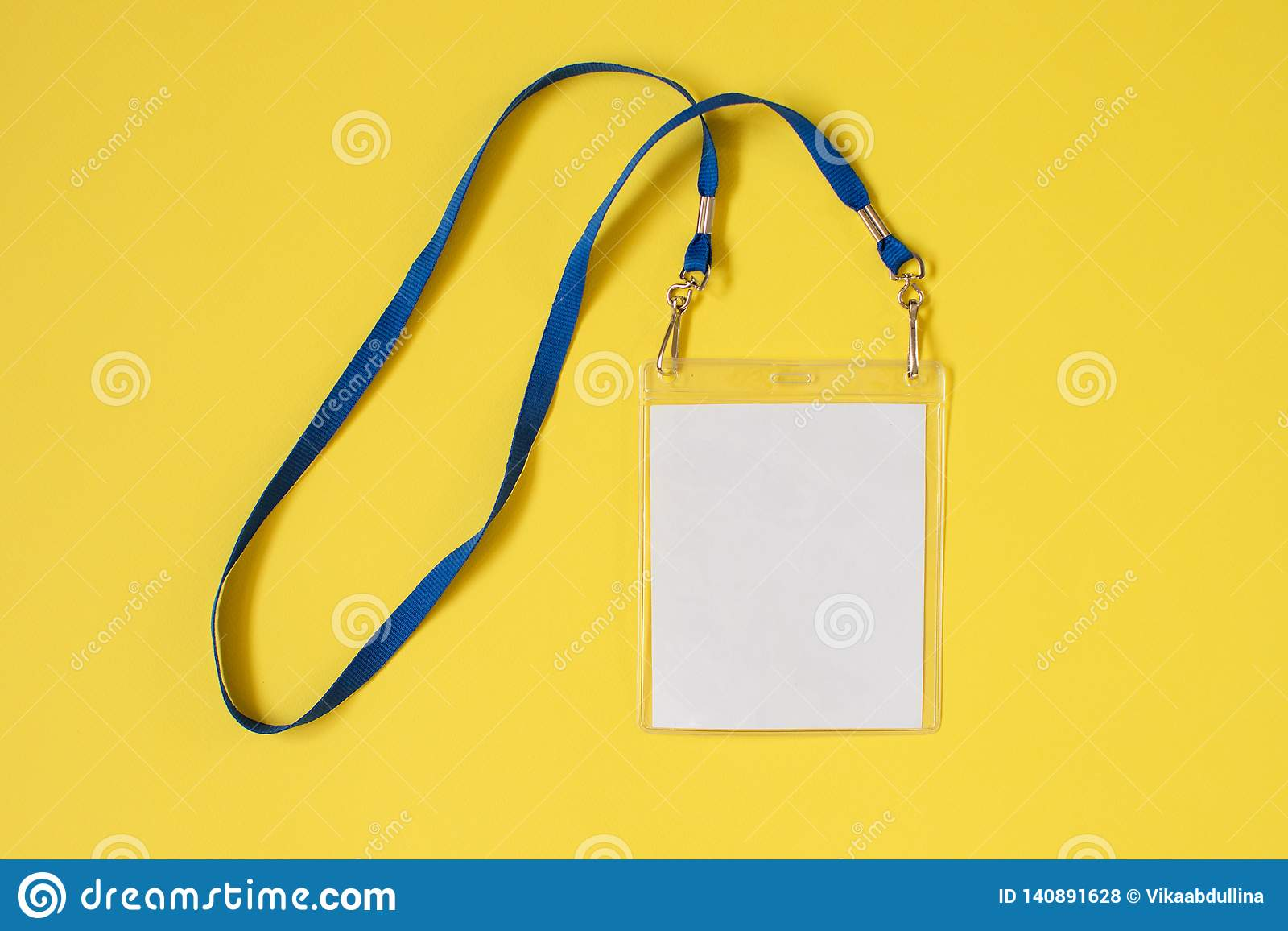 Empty ID card badge icon with blue belt, on yellow background.