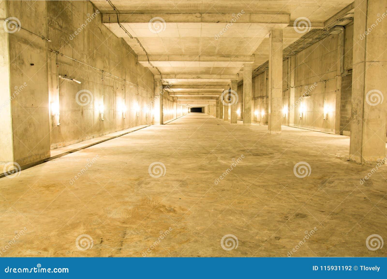 Empty Industrial Garage Room Interior With Concrete. Stock Photo ...