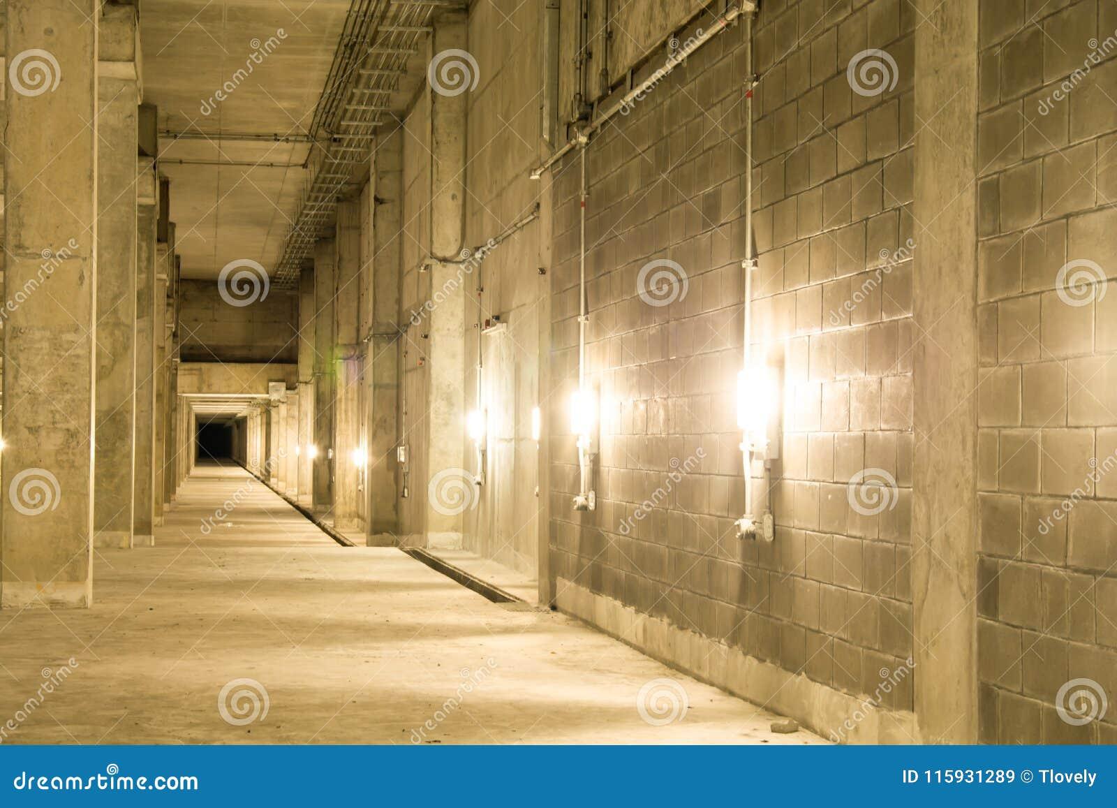 Empty Industrial Garage Room Interior With Concrete. Stock Image ...