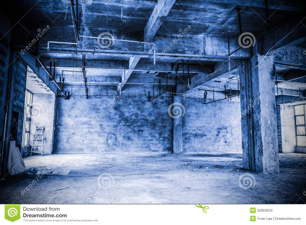Empty industrial loft in an architectural background stock for Floor pillars