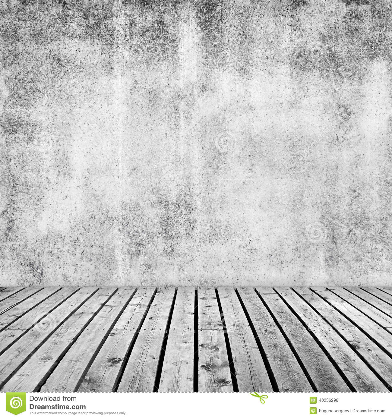 Empty Interior Background With White Concrete Wall Stock