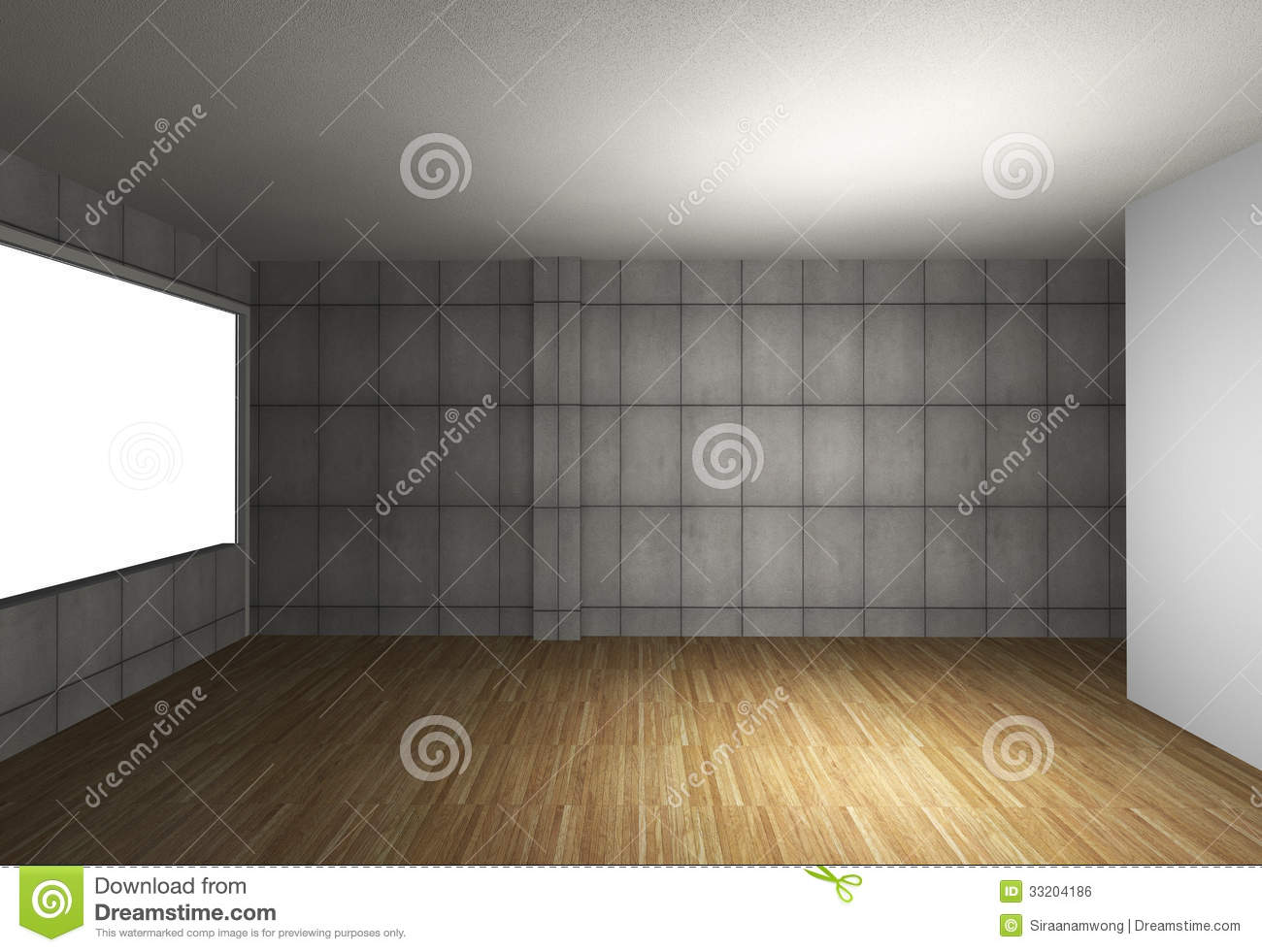 Empty Interior With Bare Concrete Wall And Wood Floor Royalty Free Stock Image Image 33204186