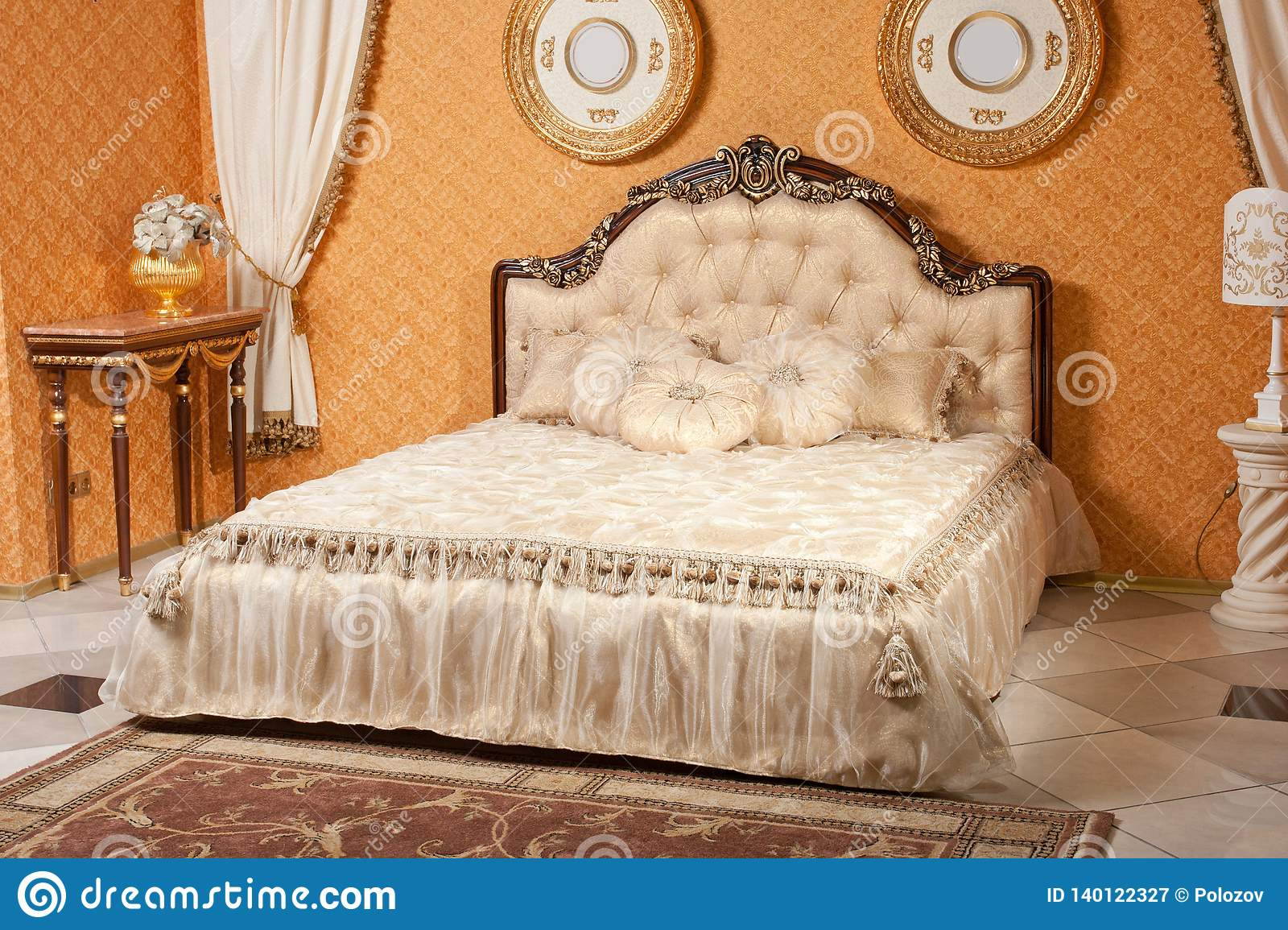 Empty Interior Bedroom Background In Warm Colors Decorated