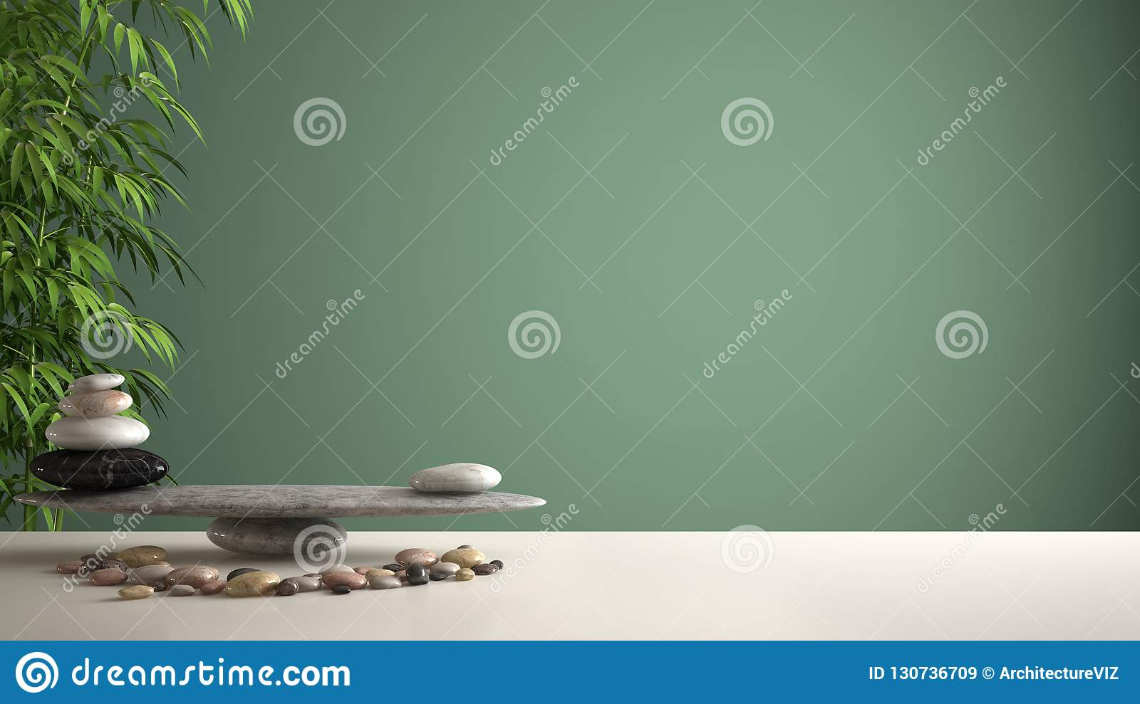 Empty interior design feng shui concept zen idea, white table or shelf with pebble balance and green bamboo, over green background
