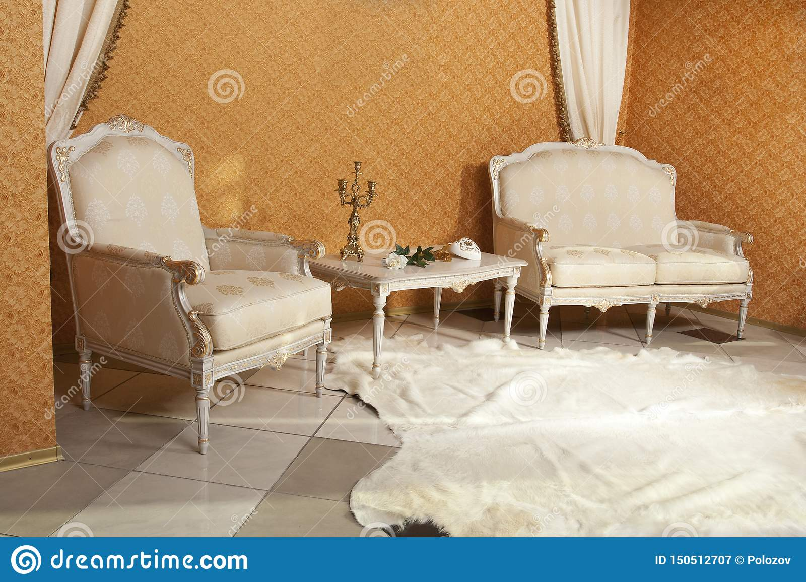 Empty Interior Living Room Background In Warm Colors ...