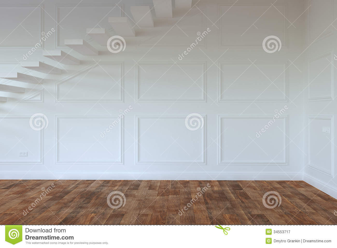 Empty interior room with stairs to second floor royalty - Stairs to second floor design ...