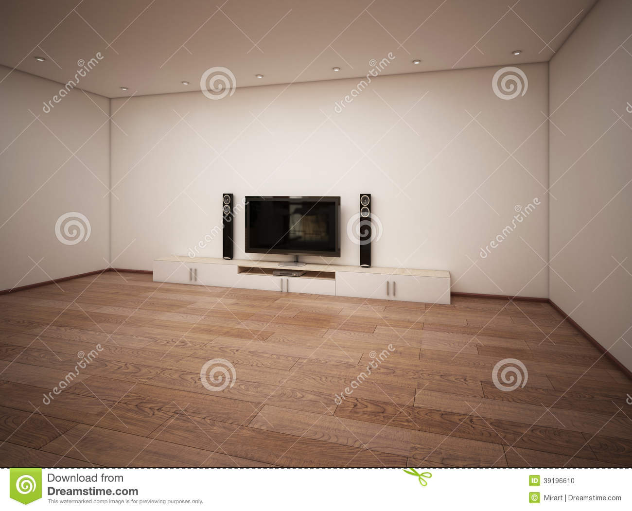 Empty Interior Of Room With Tv Stock Illustration Illustration Of Living Contemporary 39196610
