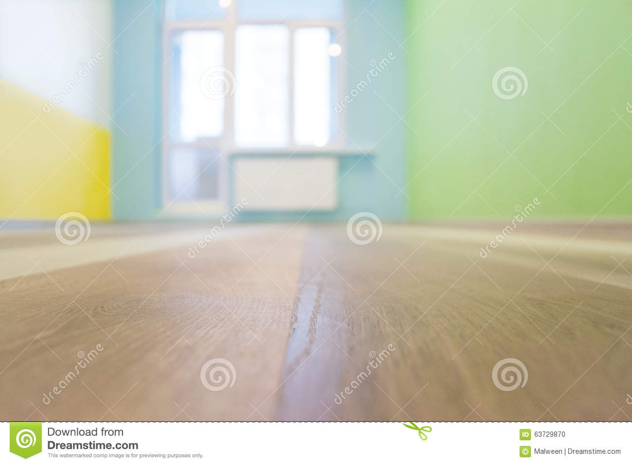 Empty kids room interior background with color walls, shallow depth of focus