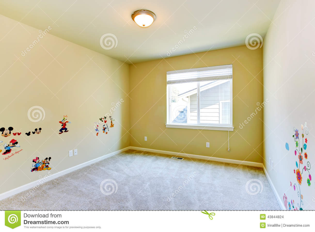 Empty Kids Room With Painted Walls Stock Photo   Image 43844824