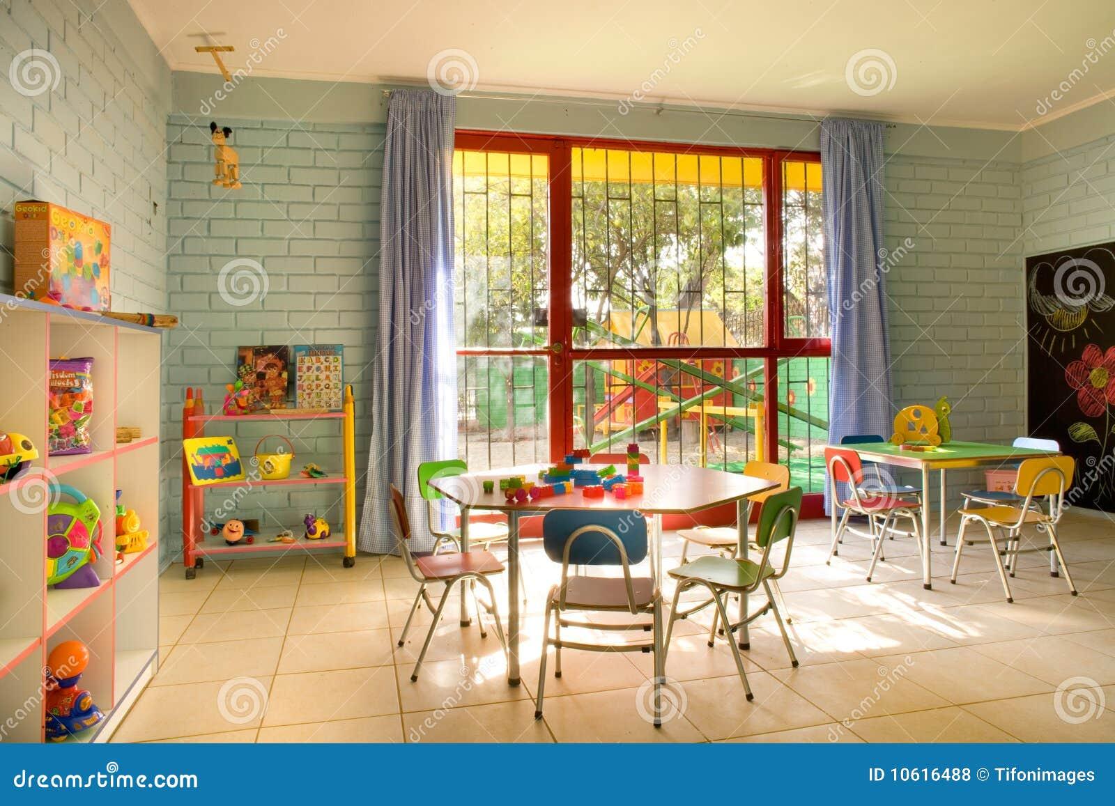 Kinder Garden: Empty Kindergarten Classroom Stock Photo