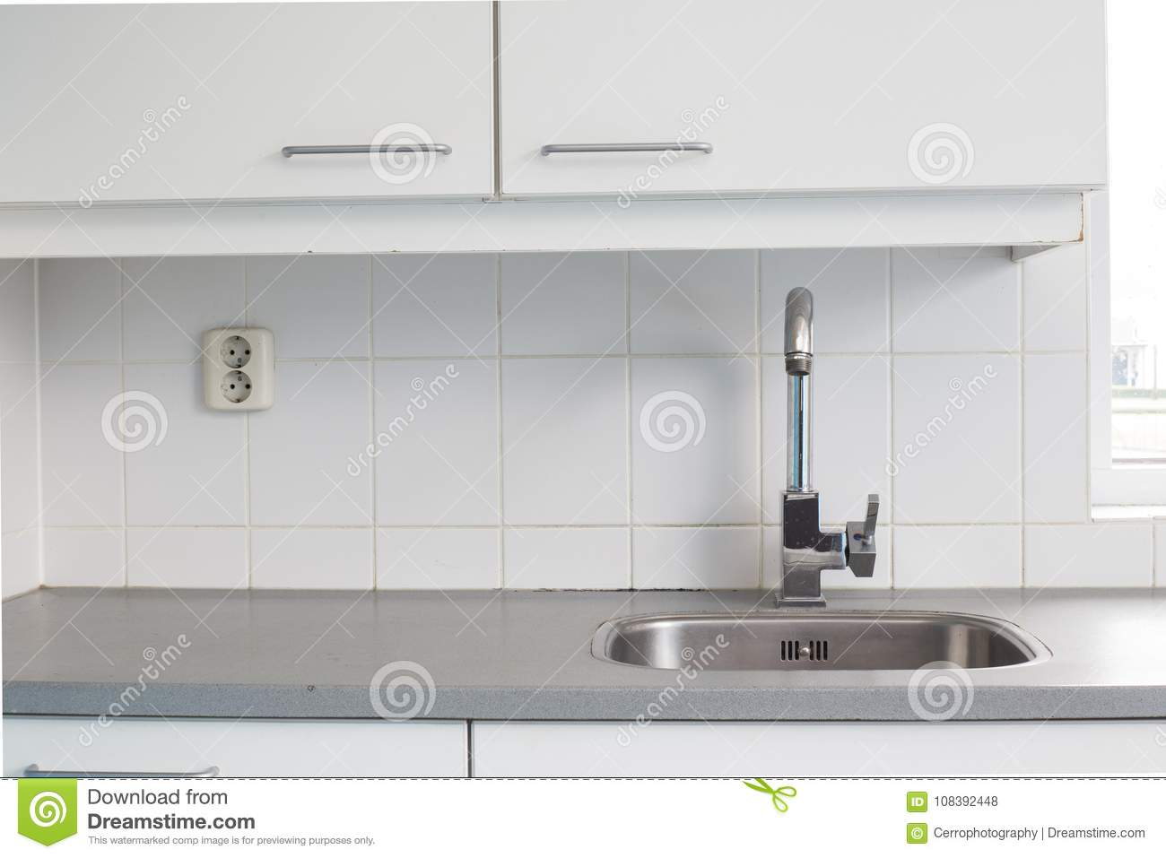 Empty Kitchen Sink Old School Design Stock Photo - Image of counter ...