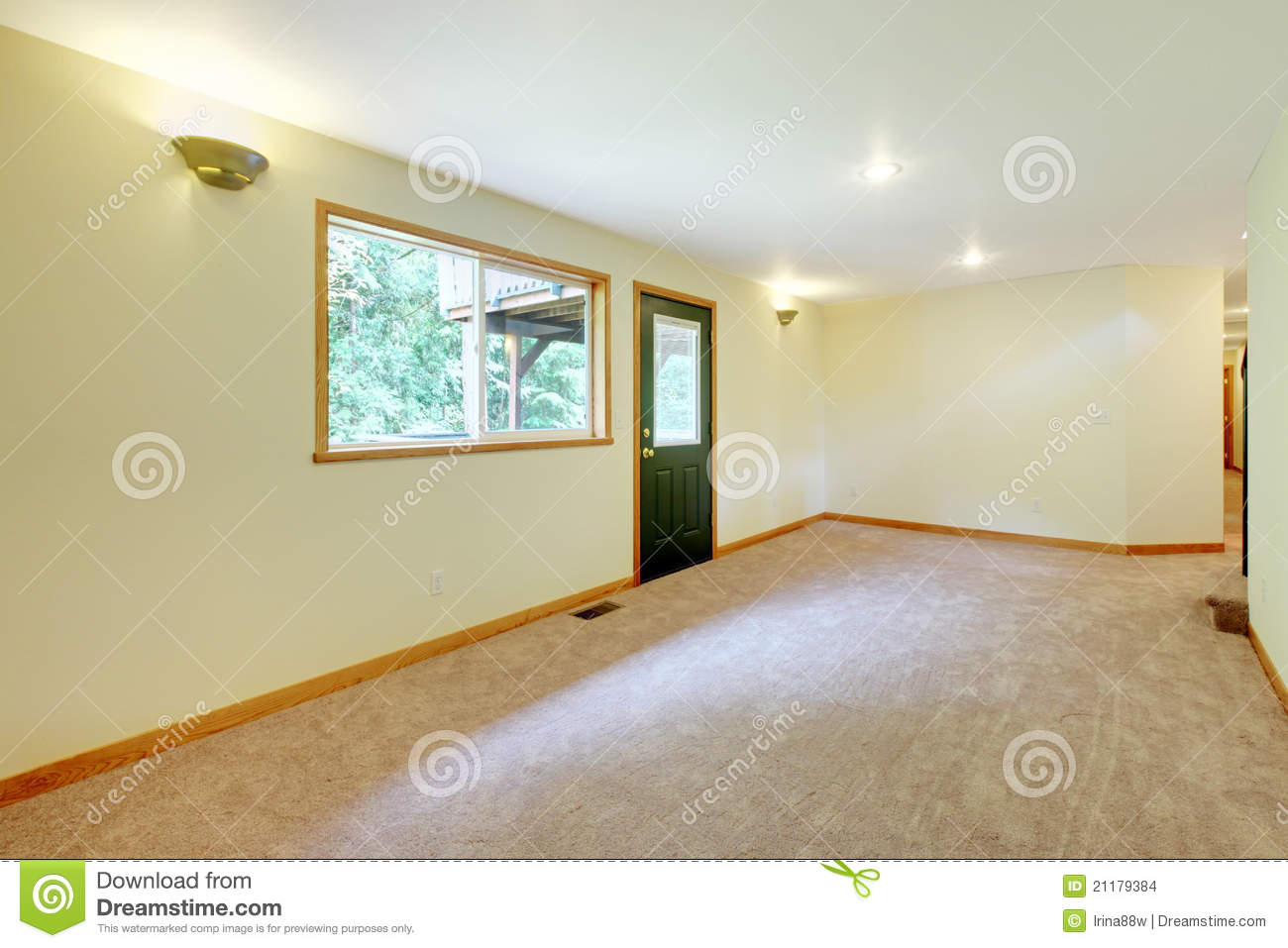Empty large white bright living room in a new home