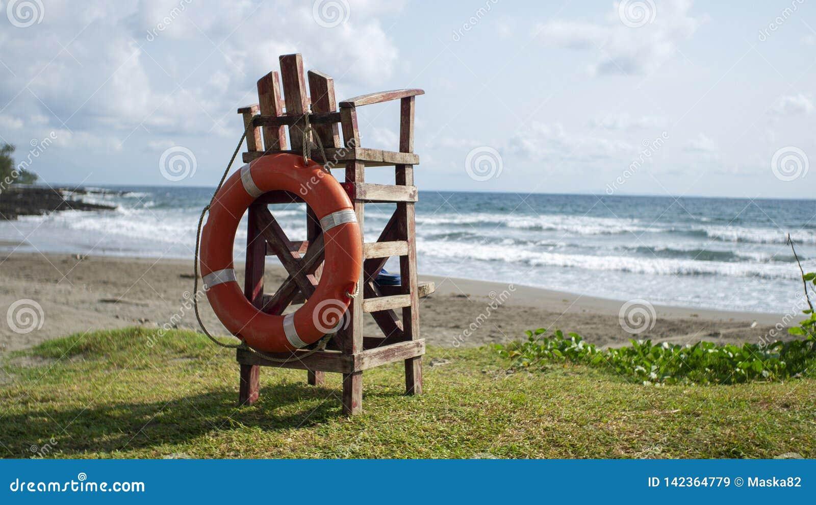 Empty lifeguard wooden watch chair
