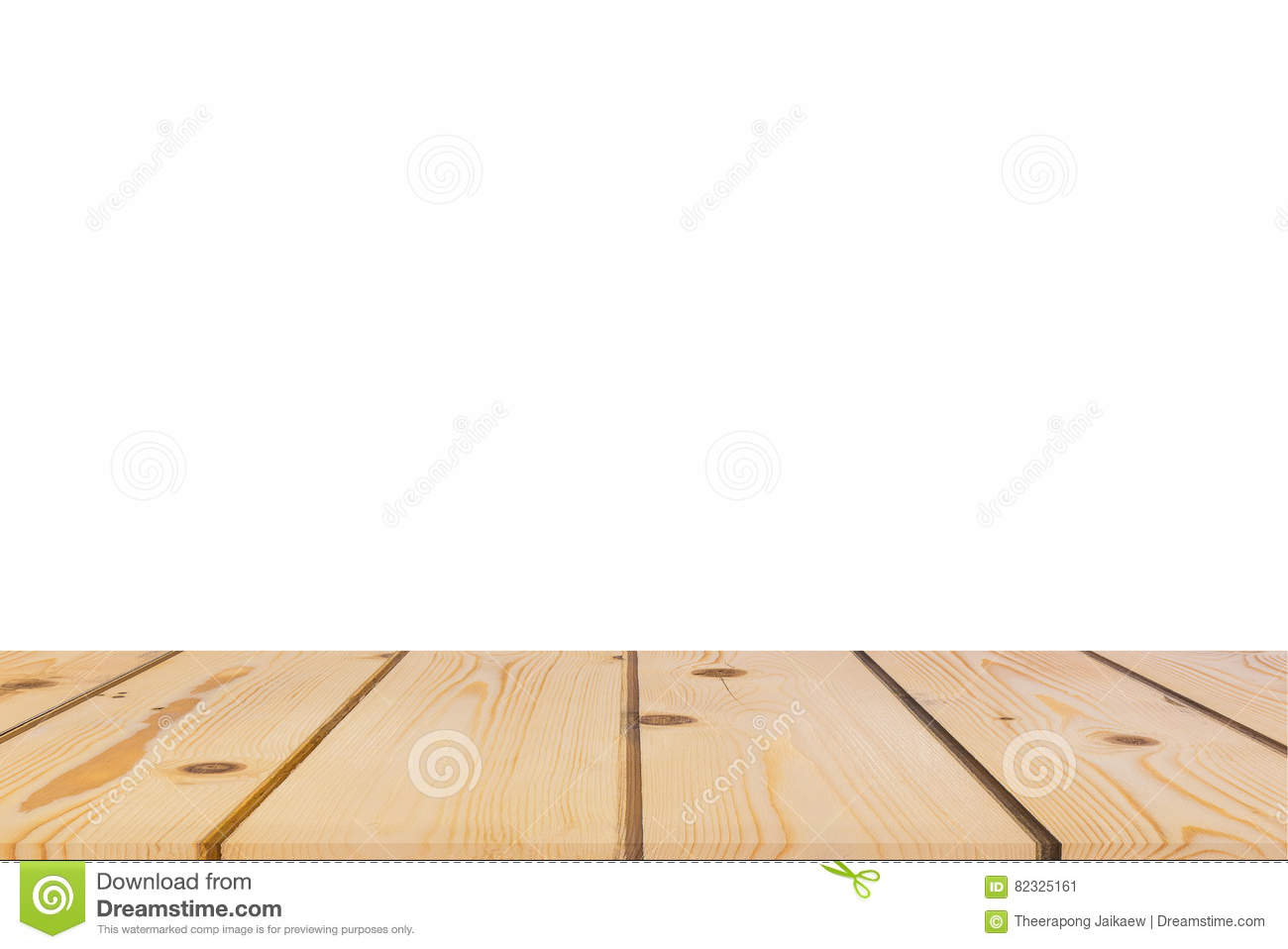 Empty Light Pine Tree Wood Table Top Isolate On White Background