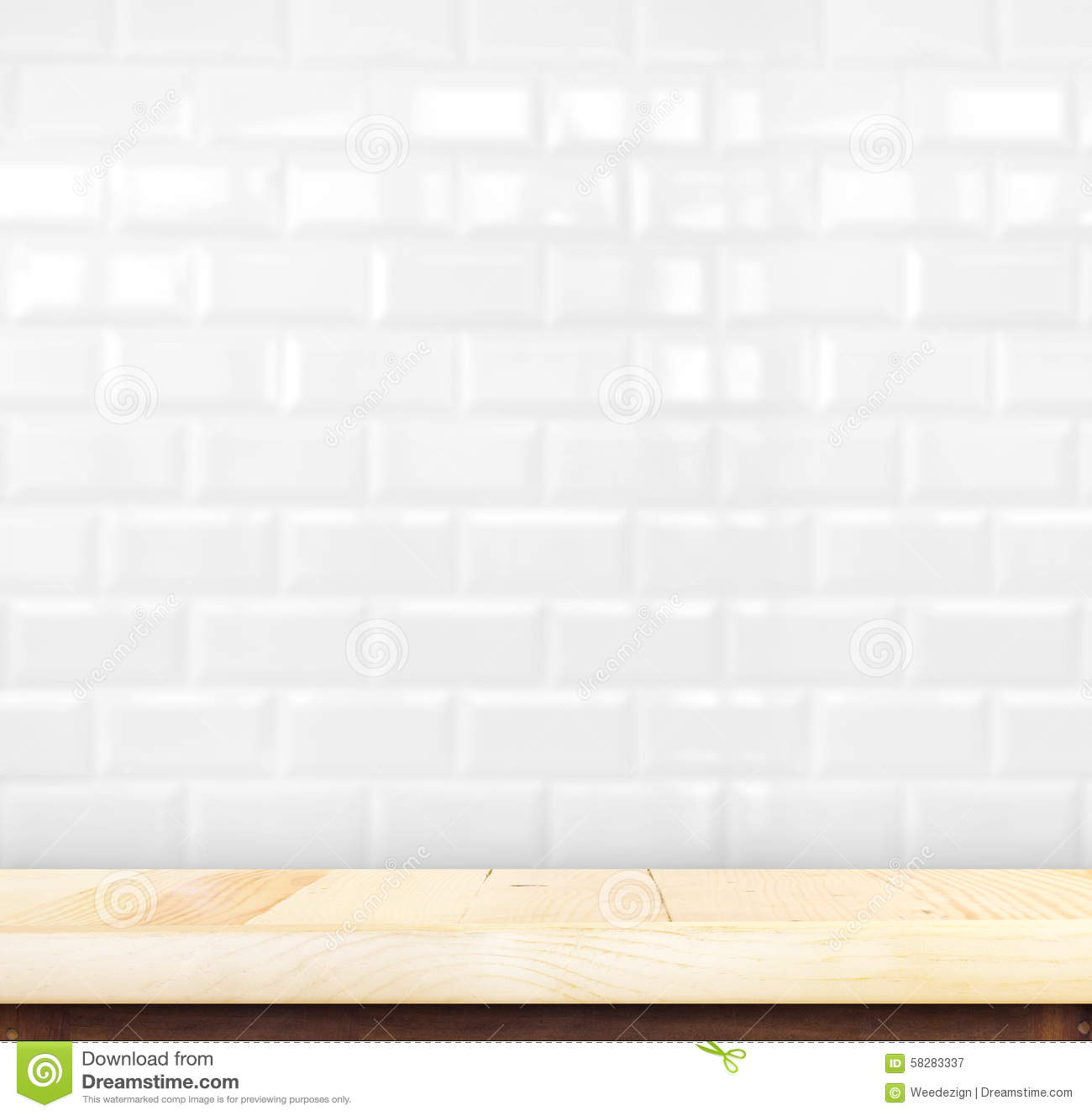 Empty light wood table and white ceramic tile brick wall in back royalty free stock photo download empty light wood table and white ceramic tile brick dailygadgetfo Images