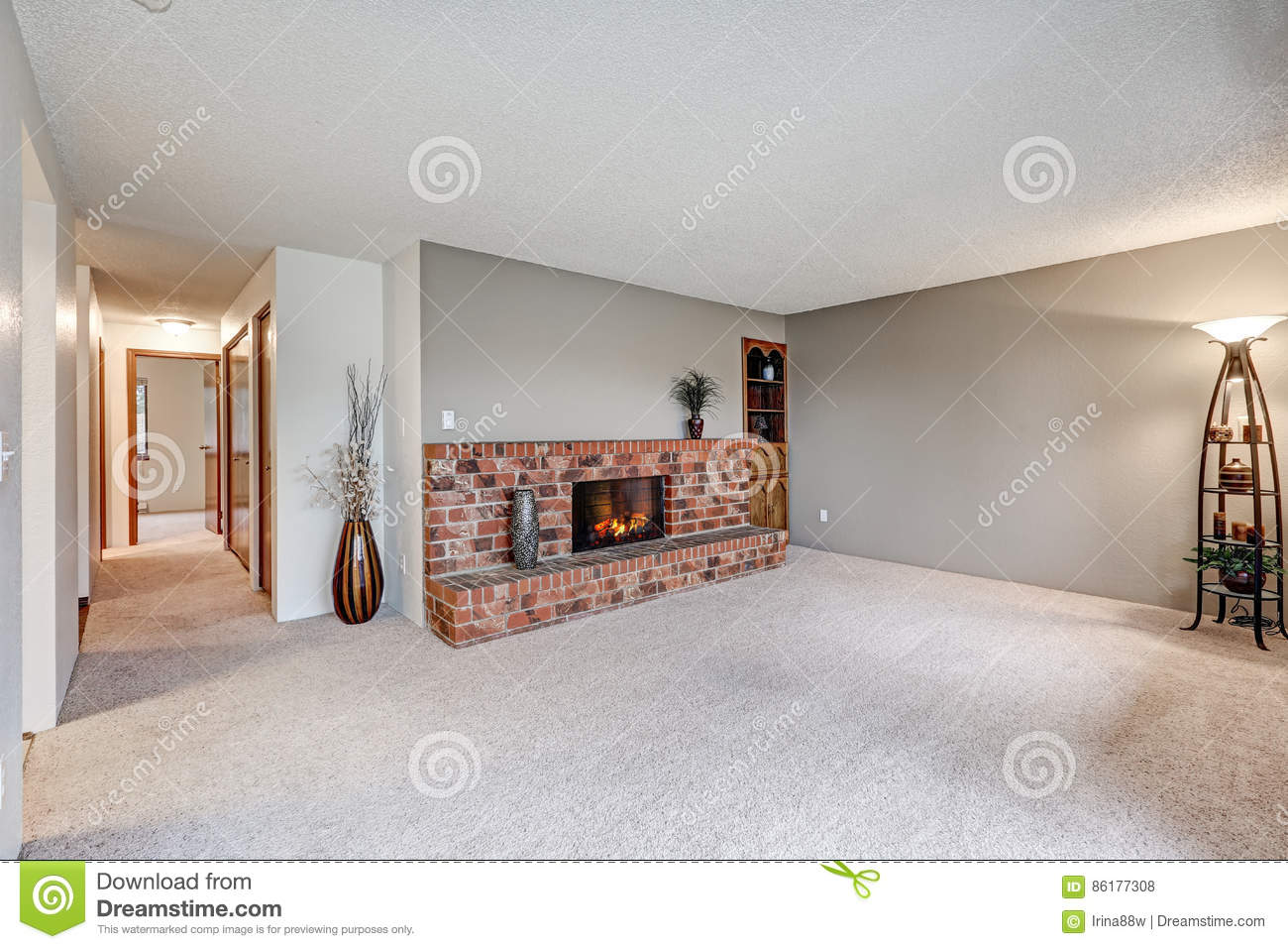 empty living room features grey walls stock photo image of floor interior 86177308. Black Bedroom Furniture Sets. Home Design Ideas