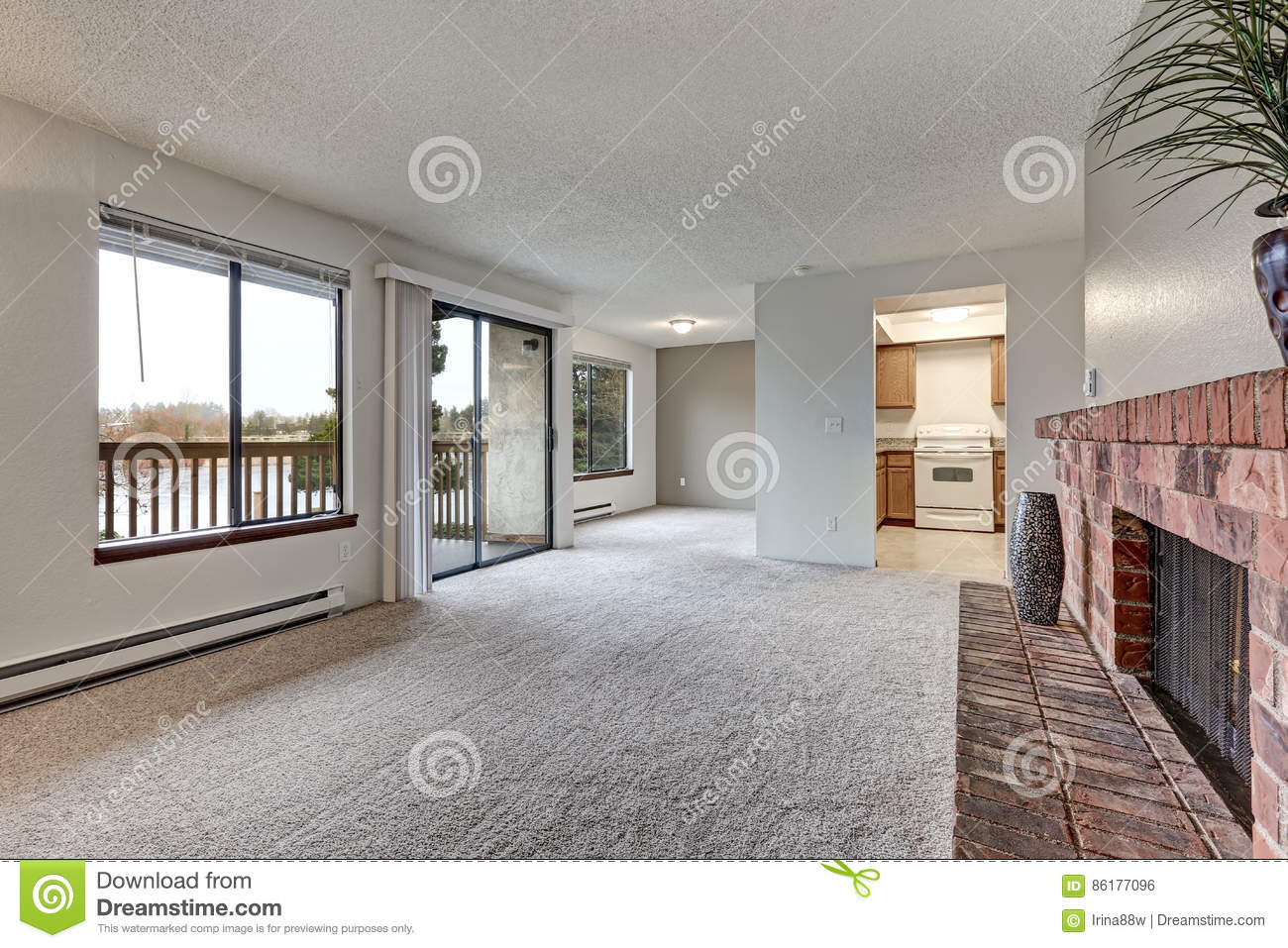 Empty Living Room Features Grey Walls Stock Photo - Image of real ...