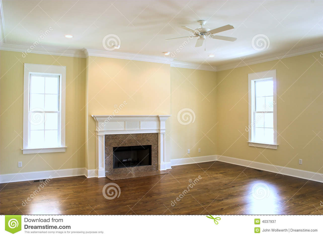 Empty Living Room With Fireplace Stock Image Image Of