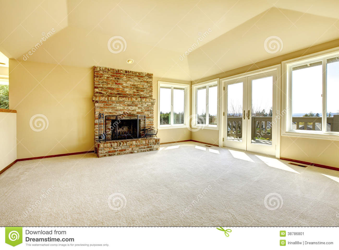 Room Background: Empty Living Room With A Fireplace Stock Image