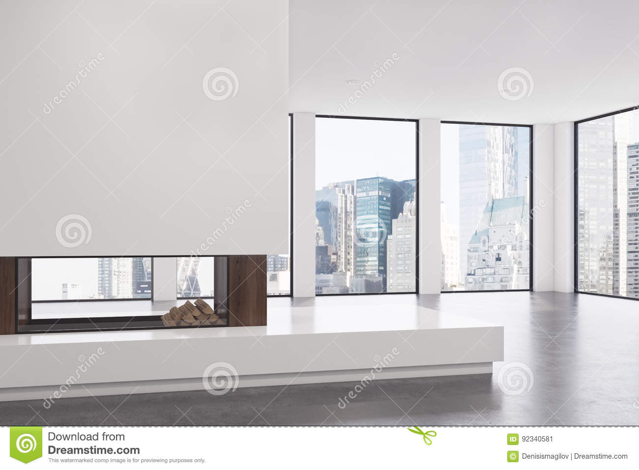Empty Living Room With Fireplace, Corner Stock Illustration ...