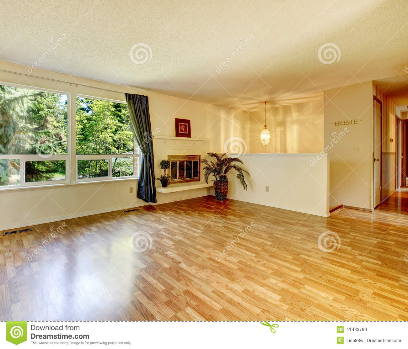 Empty Living Room: Empty Living Room With Fireplace And Shiny Hardwood Floor