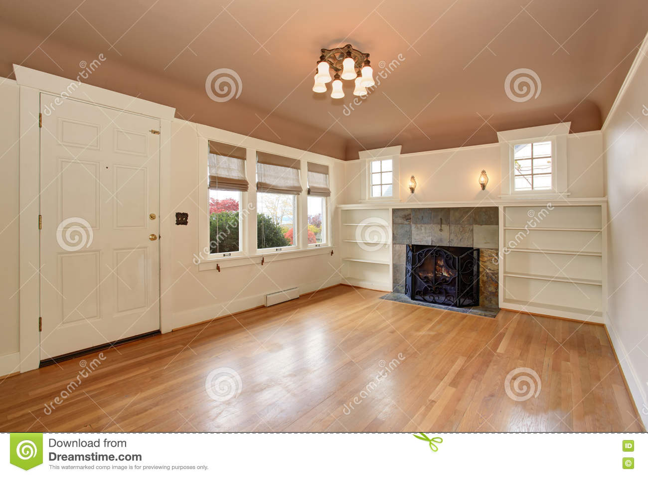 Empty Living Room Interior With Mocha Ceiling And Tile Trim ...